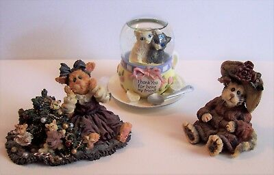 """Cat Lot -Calico Kittens """"thinking About U"""", Boyds Bears Purrstone Mrs Partridge"""