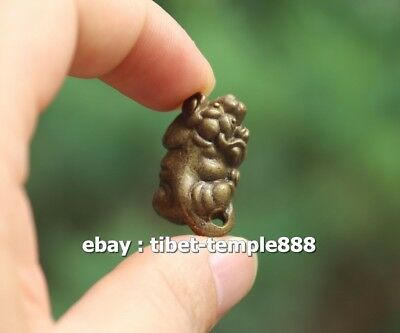 3 CM Chinese Pure Bronze Counteract Evil Force Zodiac Animal Dog Amulet Pendant