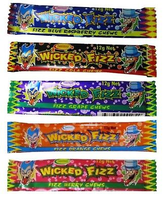 80 x ASSORTED WICKED FIZZ CHEWS CANDY SWEETS LOLLIES BUFFET PINATA PARTY