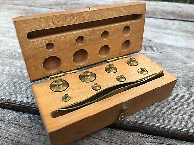 VTG Gram Scale Weights Set in Wooden Box w Tweezers 20 10 5 2 1