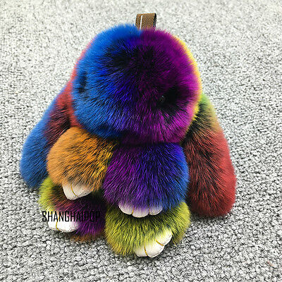 Cute Faux Fur Bunny Fluffy Rabbit Keyring Bag Pendant Keychain Furry Colorful US