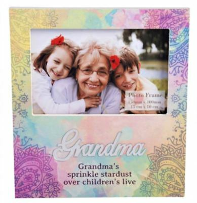 NEW Grandma Rainbow Picture Frame Grandmother Wooden Photo Mother's Day Keepsake