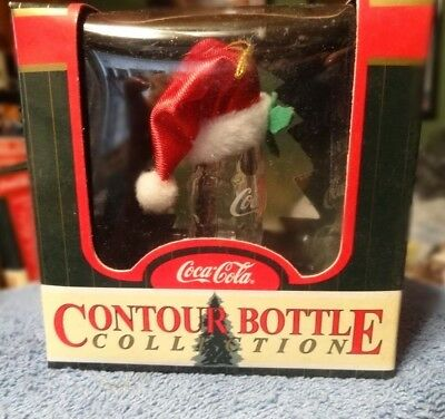 Vintage Coca-Cola Contour Bottle Collection w/Santa hat Christmas ornament MIB