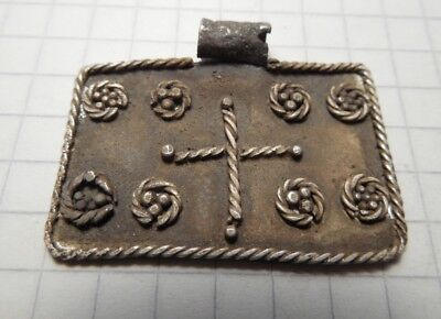 Celtic period silver amulet with cross in the centre