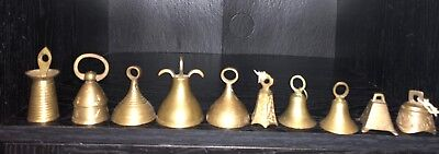 Lot Of 10 Vintage Brass Bells Of Sarna INdia