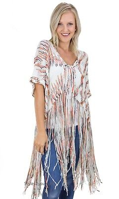 NEW Easel Chealeen Oversize Soft Cozy Cropped Sweater Long Fringe Rust 7680