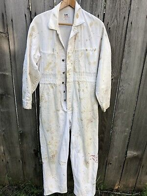 Vintage LEE UNION ALLS Coveralls Paint Splatter Sanforized Workwear Herringbone