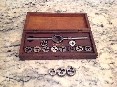 Antique Morse USA Machinist Tap and Die, Wooden Box. Free Ship.