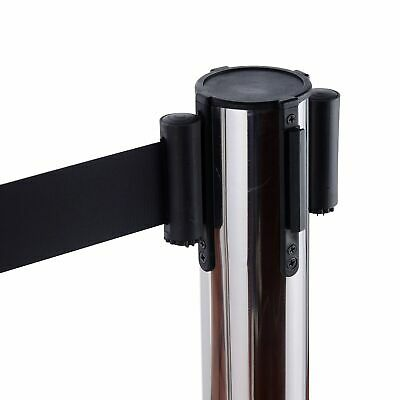 2 Chrome Retractable Queue Barriers Crowd Control Posts Black Belts Weatherproof
