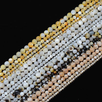Natural Gemstone White Yellow Black Mother of Pearl MOP Shell Round Beads 16''