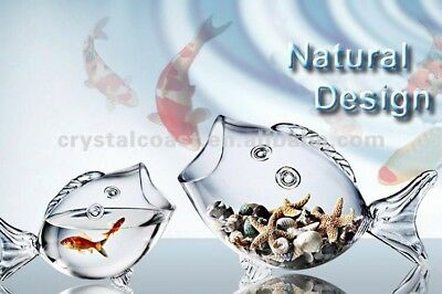 1 Lge Clear Glass Fish Shaped Gold Fish bowl/Candy snack Dish/Table Decoration