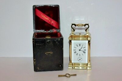 Superb Antique Tiffany Striking Repeater Carriage Alarm Clock  W/original Case