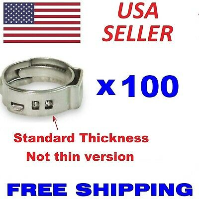 "(100) 3/8"" PEX Stainless Steel Clamps Cinch Pinch Rings ASTM NSF Certified SSC-3"