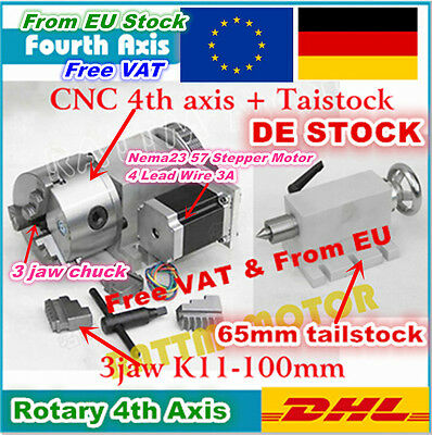 【EU】K11-100mm Fourth 4th Axis Rotation 3 Jaw Chuck+65mm Tailstock for CNC Router