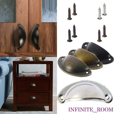6/12 Cupboard Door Cabinet Cup Drawer Furniture Antique Pull Shell Handle Brass
