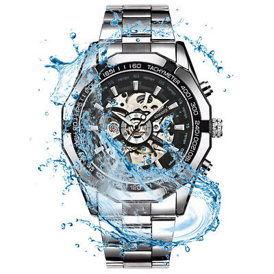 UK Men Stainless Steel / Leather Strap Mechanical Watch Quartz Analog Wristwatch
