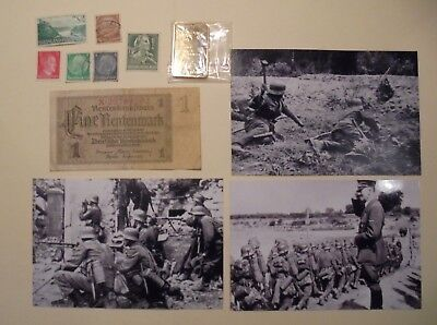 Nazi Germany Banknote,stamps,hitler Gold Clad Bar ,photos Collectables