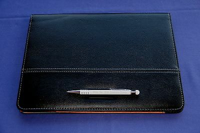 Writing Case Din A4 Leather Design Black plus Metal Pen with Personal Engraving