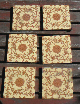 "Set of 6 MINTON CHINA WORKS Victorian Tiles 6"" x 6"" 15.5cmx15.5cm Floral Pattern"