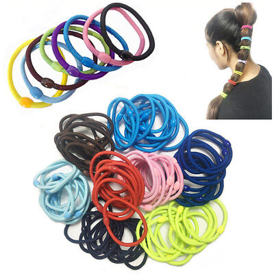 13pc Hair  Bands Thick Bobbles Elastic Ponytail Rubber Hairbands Black