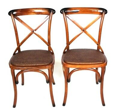 Pair of Vintage 'Casa Del Rattan' Dining Chairs - FREE Shipping [PL4508C]