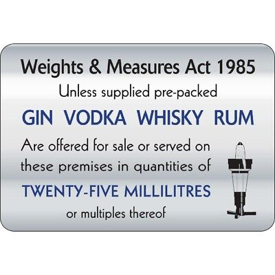 25ml Weights & Measures Act Sign (Next working day UK Delivery)