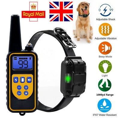 LCD Display Pet Dog Waterproof Training Collar Rechargeable Electric Shock 800M