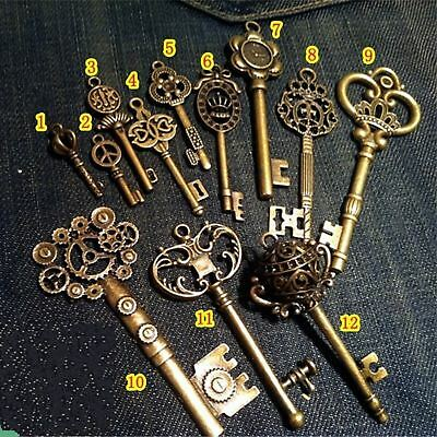 Old Vintage Antique Skeleton 12 Keys Lot Small Large Bulk Necklace Pendant Craft