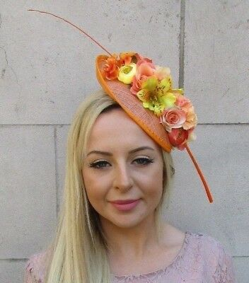 Orange Yellow Feather Flower Sinamay Disc Saucer Hat Fascinator Headband 5950