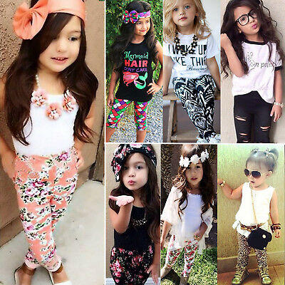 UK Stock Baby Kids Girls Summer Outfits T-shirt Tank Tops Vest Pants Clothes Set