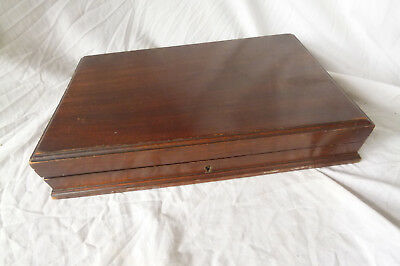 Lovely ANTIQUE ENGLISH WOODEN CUTLERY BOX 1930's 35cm x 25cm x 6cm Good Project