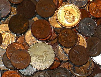 OVER FIFTY DOLLARS in Canadian Money,LOOSE CHANGE,Dimes,Pennies ++ $50.00 COINS