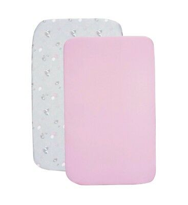 Chicco Next2Me Set of 2 50 x 83cm Fitted Crib Undersheets Princess Pink Grey