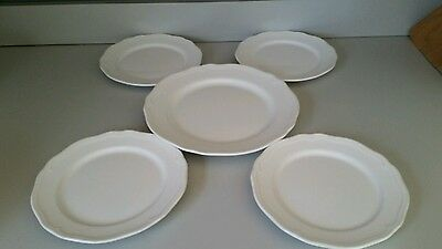 Set of 5 White Ikea Plates-1 Dinner Plate and 4 Salad Plates-21464 & SET OF 5 White Ikea Plates-1 Dinner Plate and 4 Salad Plates-21464 ...