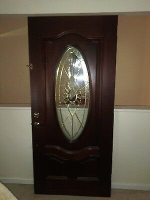 Decorative Wooden Front Door With Oval Shaped Glass Insert