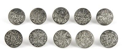 10 Antique 18th Century Finest English Sterling Silver Engraved Buttons