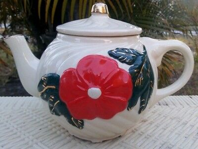 AMERICAN BISQUE - VINTAGE ART POTTERY TEAPOT w/ RED POPPY