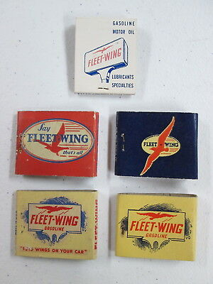 "5 Different Books of Safety Matches, ""Fleet-Wing"" Gasoline & Motor Oil"