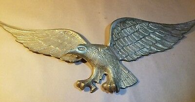 "Vintage Brass American Bald Eagle Solid Wall Hanging - 27"" wingspan x  9"" height"