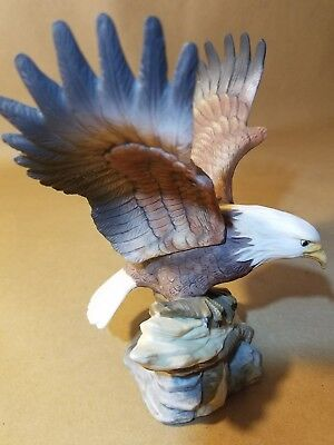 American Bald Eagle Preparing for Flight - Porcelain Statue Figurine - Detailed