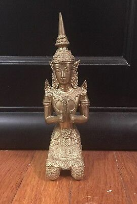 Vintage Thai Angle Bronze Figurine ~ 8 inches tall ~
