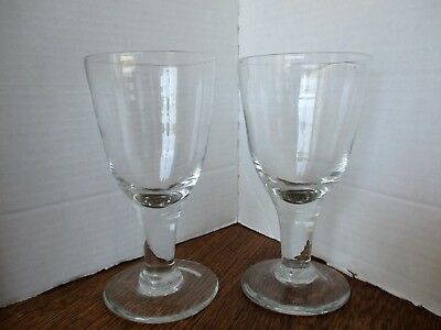 """Antique Early American Blown Glass 6 3/4"""" GOBLETS Rough Pontil -- Rare Pair!"""