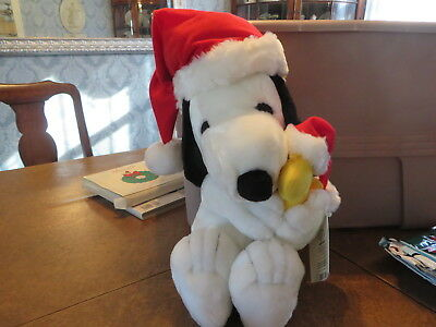 "19"" Holiday Snoopy and Woodstock Peanuts Santa Applause Christmas Plush Animals"