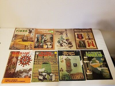 Lot Of Vintage Macrame Books Hanging Wall Art Home Decor Plant