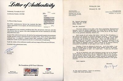 """1981 Spiro Agnew Vice President SIGNED Letter """"Terrible Cost of War"""" PSA LOA"""