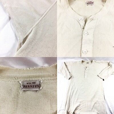 Vtg 40s Penney's Henley Cotton Long Sleeve Shirt Thermal Workwear WW2
