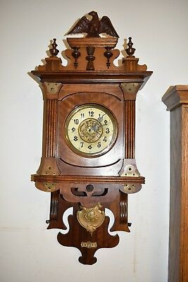 Antique German Junghans Free Swinger Wall Clock. Circa 1900. 8Day Clean And Runs