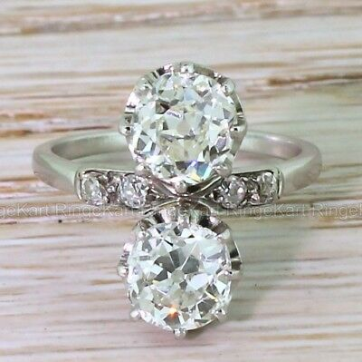 Rare Antique 2 Ct Diamond Engagement Early Art Deco Two Stone Ring Circa 1905's