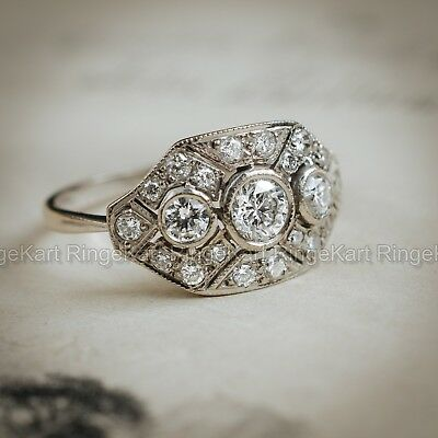 1 Ct Diamond Vintage Edwardian Antique Engagement Art Deco Cluster Ring Era 1925