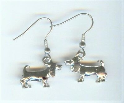 BASSET HOUND DOG Charm Pierced Earrings - R415